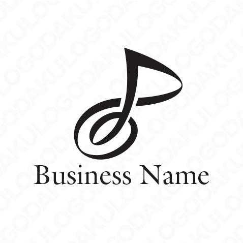 優雅なリボン音符のロゴ