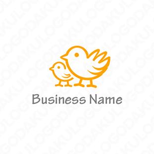 仲睦まじい鳥の親子のロゴ