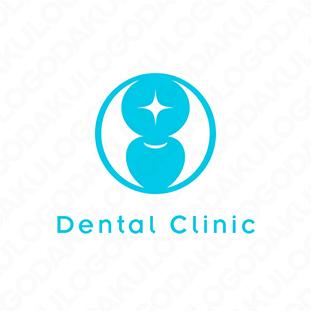 光輝く歯のロゴ