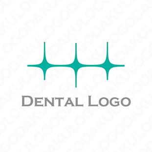 三つ星が輝く歯のロゴ