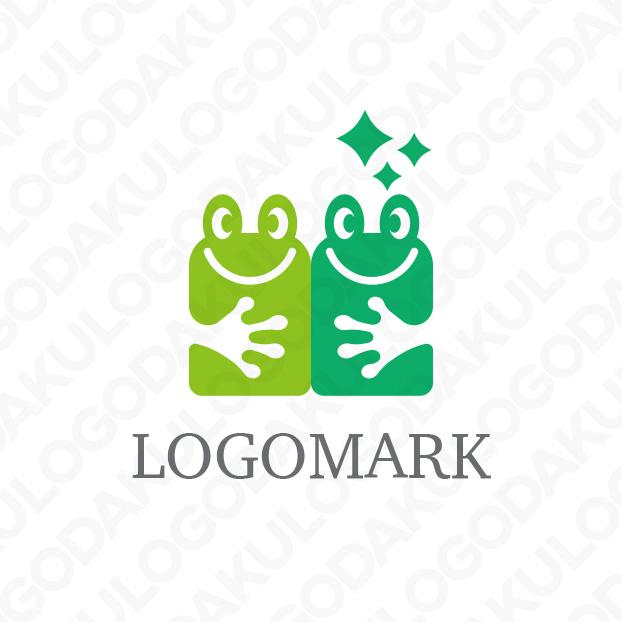 ユニークなカエルが並んだロゴ