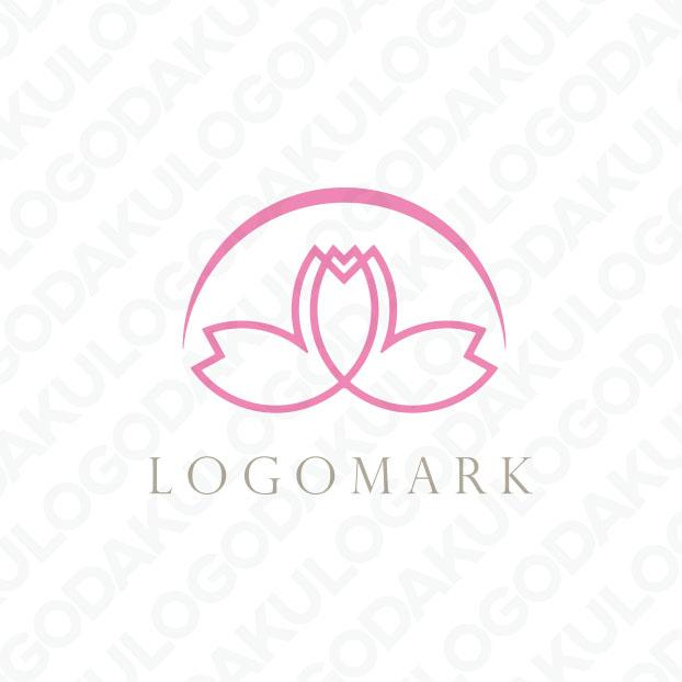 つながる桜と朝日のロゴ