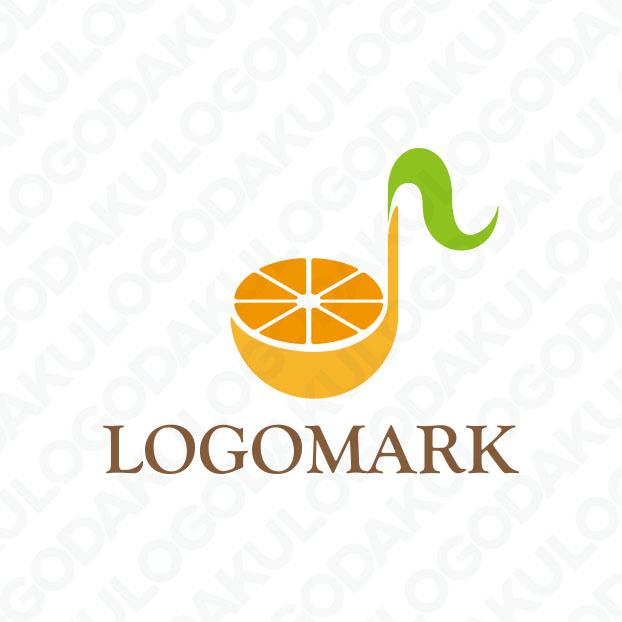 果実のオレンジと音符のロゴ