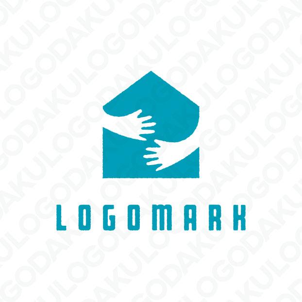 手と手を取り合う住宅のロゴ