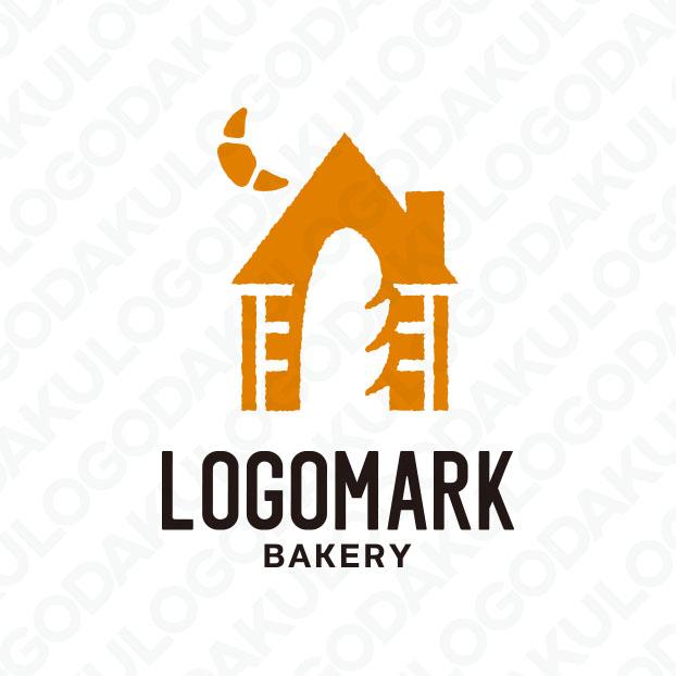 バケットとアルザス地方の小さなパン屋さんのロゴ 空にはクロワッサンが輝くロゴ