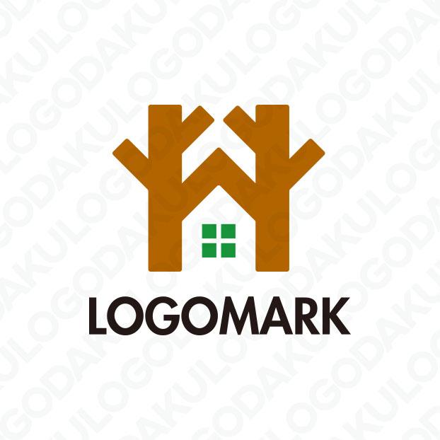 天然木材の建てられた呼吸する住宅ロゴ