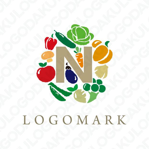 色とりどりの美しい野菜が主役のロゴ