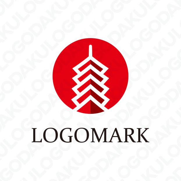 地域のランドマークになる五重塔のロゴ