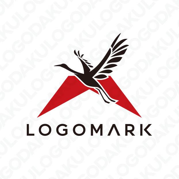 富士山をバックに飛翔する鶴のロゴ